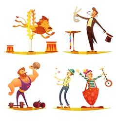 Circus Retro Cartoon 4 icons Square vector