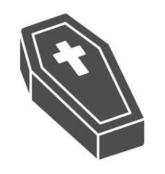 Coffin with cross solid icon halloween concept vector