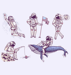 collection soaring spaceman set astronauts in vector image