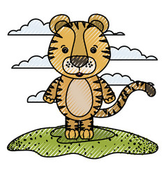 Color crayon silhouette scene caricature tiger vector