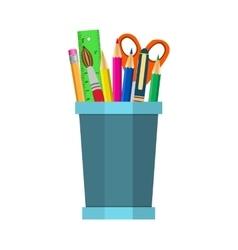 Color pencils in cup vector