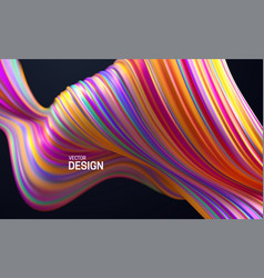 colorful striped wave liquid flowing shape vector image