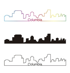 Columbia skyline linear style with rainbow vector image