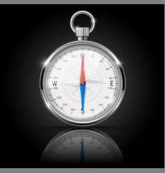 Compass round gauge with chrome frame vector