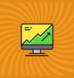Computer statistics increase icon simple line vector