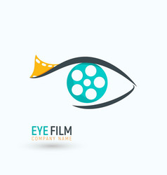 Concept reel film in a eye logo isolated logotype vector