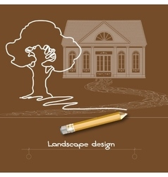 Contour tree house stone pathway pencil and vector