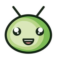 cute little worm head kawaii character vector image