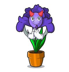 Devil iris flower mascot cartoon vector