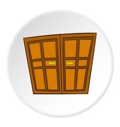 Double door icon cartoon style vector