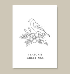 elegant christmas vintage greeting card vector image