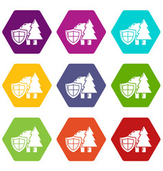 environment protection icons set 9 vector image