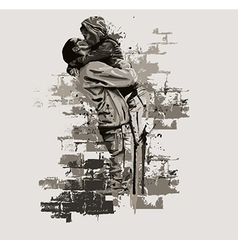 Father with daughter abstract vector