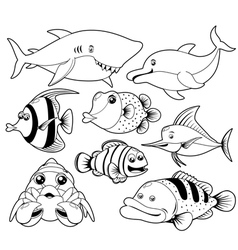 Fish sea black and white set vector