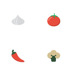 Flat icons hot pepper love apple onion and other vector