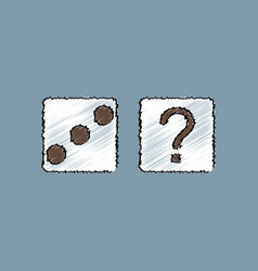 Flat shading style icon dice and question mark vector