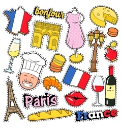 France Travel Scrapbook Stickers Patches Badges vector