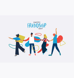 Friendship day card diverse friends together vector