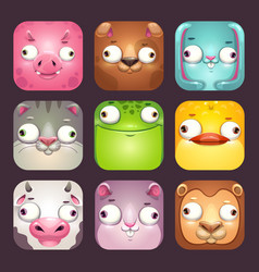 funny cartoon square animal faces app icons set vector image