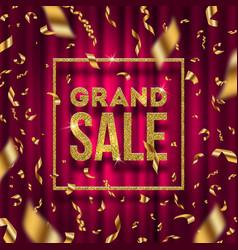 Glitter gold grand sale sign vector