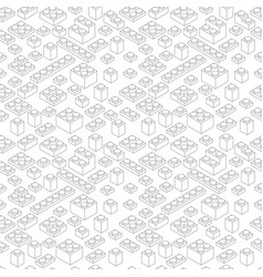gray outline contour isometry plastic bricks vector image