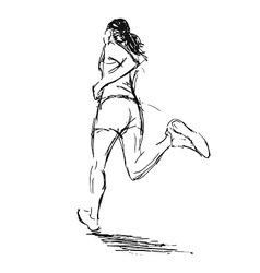 Hand sketch of a running woman vector image