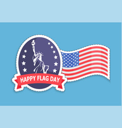 happy flag statue liberty vector image