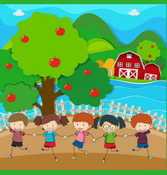 Happy kids playing in the apple orchard vector