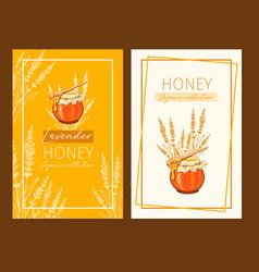 Honey vintage banners design engraved lavender vector