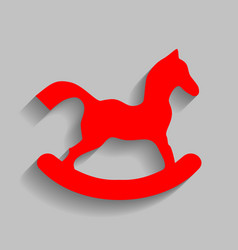 horse toy sign red icon with soft shadow vector image