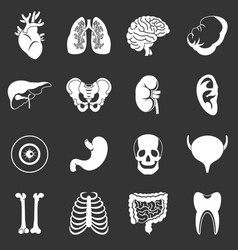 Human organs icons set grey vector