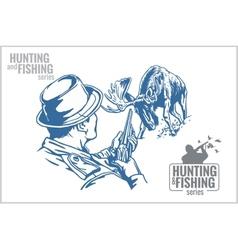 Hunter and elk - vintage vector