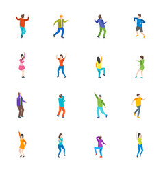 isometric dancing people characters icon set vector image