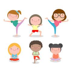 kids practicing yoga happy cartoon children vector image