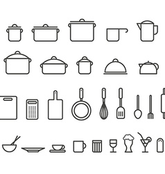 Kitchen tools silhouette icons collection Design vector image vector image