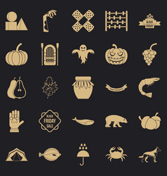 Leaf fall icons set simple style vector