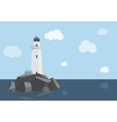 Lighthouse with barn on rocks by the sea daytime vector