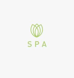 Linear icon logo flower tulip for spa salon vector