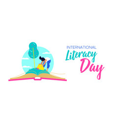 literacy day web banner for world education vector image