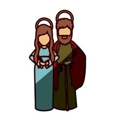 Mary and joseph cartoon of holy night design vector