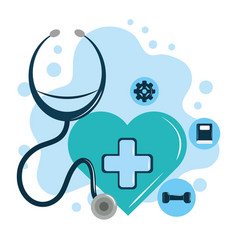Mental health day green heart stethoscope vector
