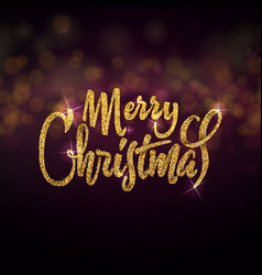 merry christmas on the background light bokhe can vector image
