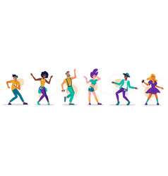 people dance music party dancers in headphones vector image