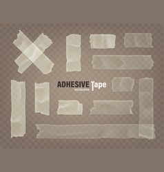 Realistic transparent adhesive tape set sticky vector