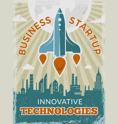 rocket retro poster business startup concept with vector image