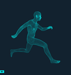 Running man polygonal design 3d model of man vector