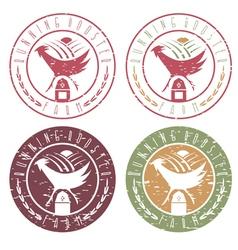 running rooster farm vintage grunge labels set vector image