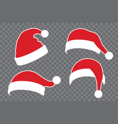 Santa claus hat flat set realistic santa claus vector