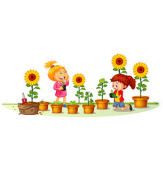 Scene with two girls planting sunflowers vector