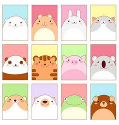 Set of banners with cute animals vector